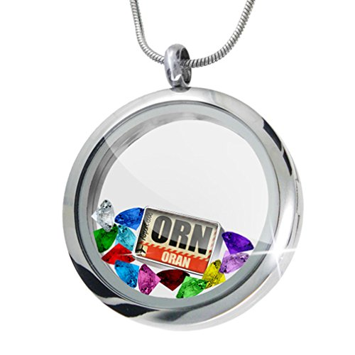 Orn Crystal (Floating Locket Set Airportcode ORN Oran + 12 Crystals + Charm, Neonblond)
