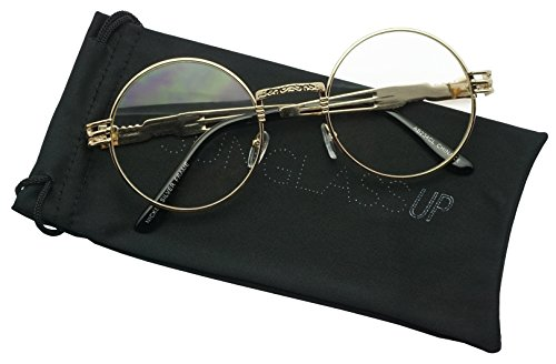 SunglassUP - Small Round Vintage Metal John Lennon Clear Lens Eye Glasses (Gold, Clear Lens - Round John Lennon Glasses