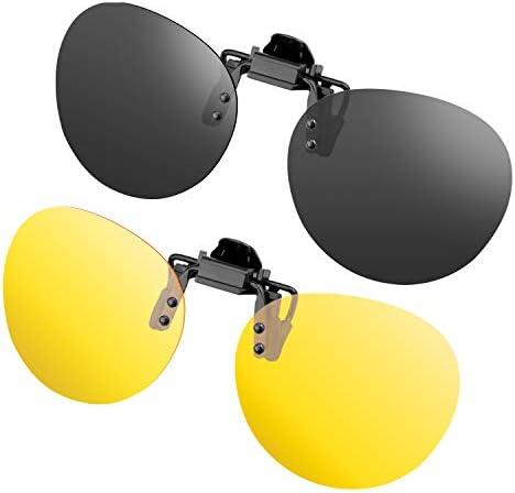 gafas de sol Clip de 2 piezas en gafas de sol polarizadas Flip Up contra luz Ideal para conducir de noche Mujeres Hombres Portadores unisex: Amazon.es: Ropa y accesorios