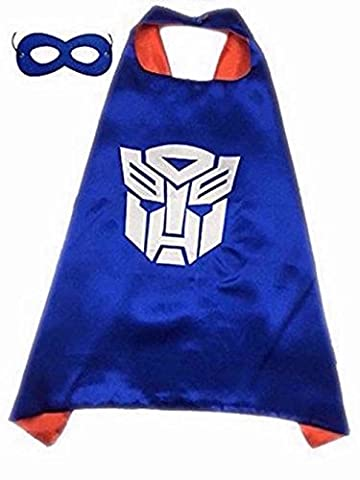 Superhero Halloween Party Cape and Mask Set for Kids Optimus Prime Blue ()