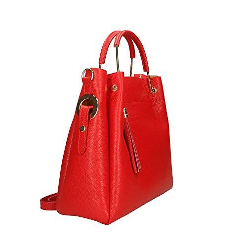 Rouge cuir en Cm 33x30x13 femme main Italy véritable Made à Sac Aren in awUR77