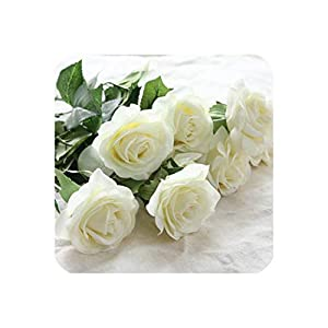 6 Heads Real Touch Spring Latex Flowers Artificial Rose Flowers Bouquets for A Wedding Home Decoration,White 68