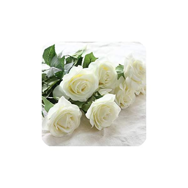 6 Heads Real Touch Spring Latex Flowers Artificial Rose Flowers Bouquets for A Wedding Home Decoration,White