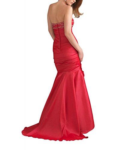 Taft Abendkleid Korsett BRIDE GEORGE Mermaid Trompete Rot Zug Sweep traegerlosen gerafftes 5fnx6z
