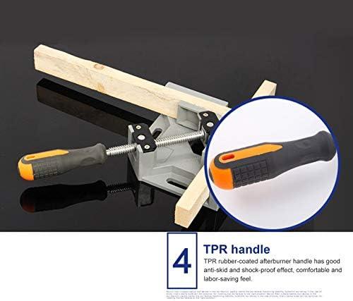 シングルハンドル90度直角クランプアルミアングルクランプ木工フレームクリップ直角フォルダーツール-グレー