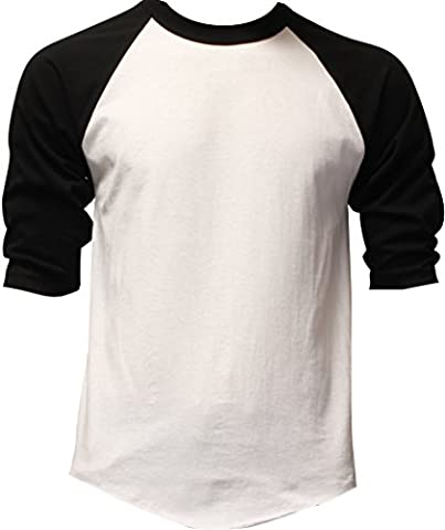 Casual Raglan Tee 3/4 Sleeve TShirt Baseball Jersey L White Black - Short Raglan Sleeve