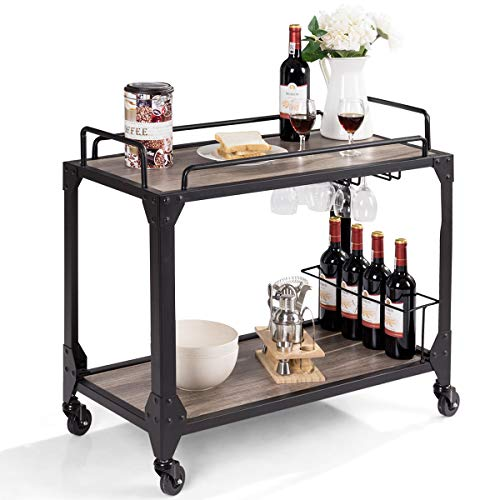 Giantex Bar Serving Cart 2-Tier, Rustic Kitchen Bar Cart, Antique Metal Frames, Wine Compartment Rack, with Universal Caster Wheels, for Kitchen Dining Room Furniture Commercial or Home Use (Wood)
