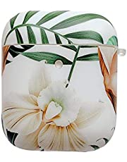 AirPods Case, Doowear Airpods Protective Cover Case Skin (Front LED Visible) Floral Soft Shockproof Silicone Case for Girls Women, Compatible with Apple AirPods 2 and 1 Charging Case-White Flower