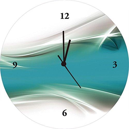 Artland Qualitätsuhren I Funk Wanduhr Designer Uhr Glas Funkuhr Größe: 35 Ø Gegenstandslos Türkis J4IM
