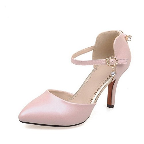 AllhqFashion Women's Buckle High-Heels PU Solid Pointed Closed Toe Sandals Pink 2ESxTMJqQ
