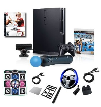 "Sony Playstation 3 Move ""Super Bundle""- Wheel, Dance Pad, Cables, and More 320GB"