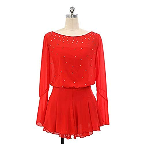 Kmgjc Figure Skating Dress,Women Girl Handmade Skating Competition Costume Ice Dance Show Tights Long Sleeve Crystal Suit Solid Color Skating Wear (Color : Red, Size : L)