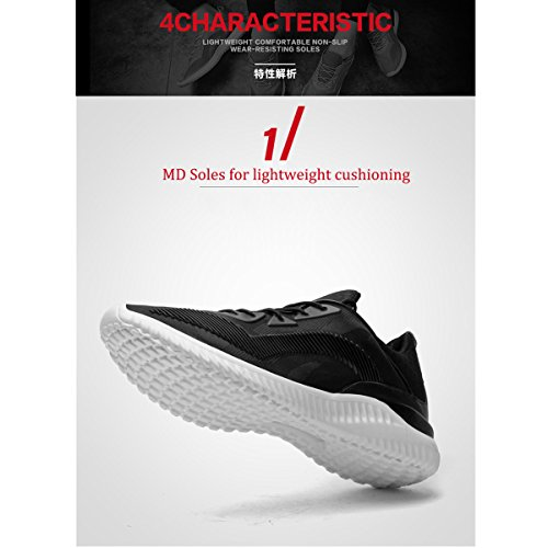 Meurry Mens Womens Sports Shoes Running Shoes Lightweight Breathable Sneaker Lace Up Trainers Casual Gym Walking Trainers Fitness Shoes Outdoor Shoes 36-46 Black-2 0vuwfQ