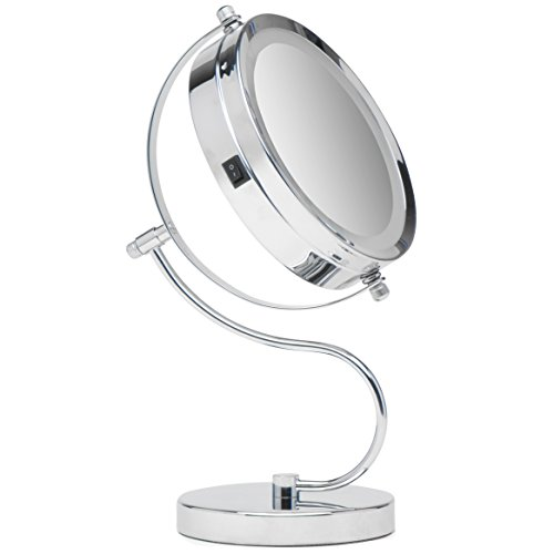 Mirrorvana Bright & Curvy Double-Sided LED Lighted Makeup Mirror w/1 x 3x Magnification for Vanity Countertop, 6-Inch -