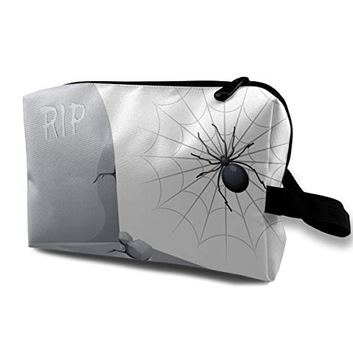 Halloween RIP Tombstone Spider Web Multi-function Travel Makeup Toiletry Coin Bag Case ()