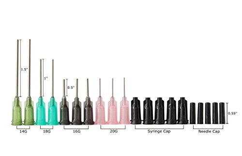 Bstean Syringe Blunt Tip Needle and Cap - 10ml, 5ml, 3ml, 1ml Syringes 14ga 16ga 18ga 20ga Blunt Needles - Oil or Glue Applicator (Pack of 10)