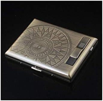 Jinnuotong 防風シガー充電ライターシガレットケースライター内蔵充電、超薄型シガレットケース20パック、USB付きシガレットケース,防水と耐圧 (Color : Metallic, Size : 10.7*8*2cm)