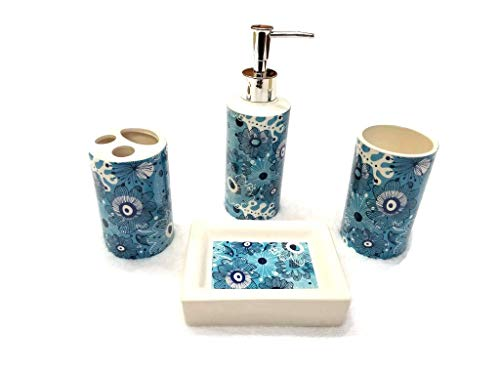 Empire Home Printed 4-Piece Bathroom Accessory Ceramic Set - Lotion Dispenser/Tumbler / Toothbrush Holder/Soap Dish (Blue Floral)