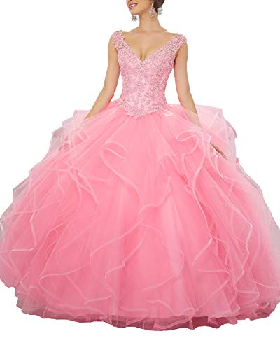 Skirt Beaded Bella (Yisha Bello Women's Applique Beaded Organza Ruffles Prom Ball Gowns V-Neck Lace Up Quinceanera Dresses 10 Pink)