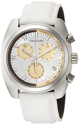 Calvin Klein Mens Chronograph Quartz Watch with Leather Strap K8W371L6