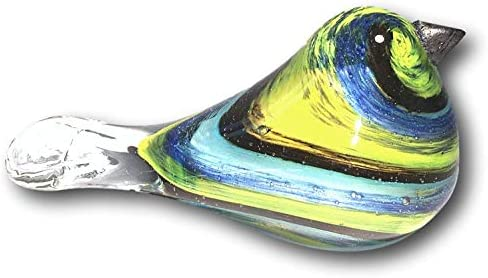 Kelly Jewels Art Glass Handmade Paperweight Figurine Bird Shape Striped