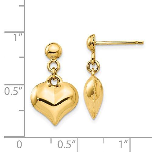 - 14k Yellow Gold Polished Puffed Heart Dangle Post Earrings (0.6IN x 0.4IN)