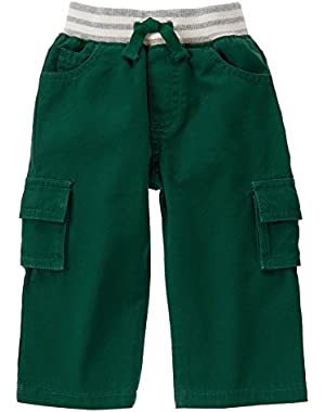 Baby Boy's Pine Green Pull-On Cargo Pants