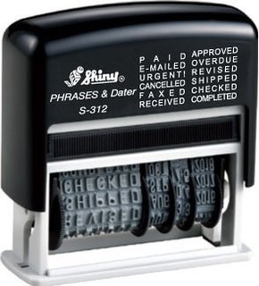 Shiny Self Inking Rubber Date Stamp - S-312 - RED INK Phrase Dater (42514-R) (Stamp Phrase Date)
