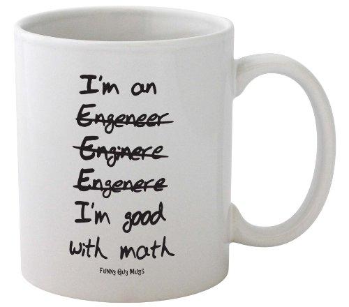 Funny Guy Mugs I'm Good With Math Engineer's Ceramic Coffee Mug, White, 11-Ounce