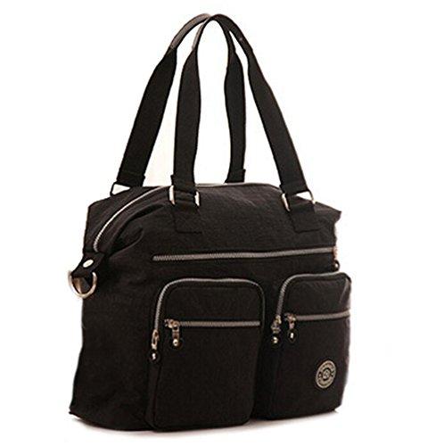 Fansela(TM) Nylon Water Repellent Large Capacity Square Shoulder Bag (Black)