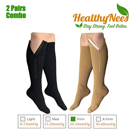 - HealthyNees 2 Pairs Set Closed Toe 20-30 mmHg Zipper Compression Fatigue Swelling Circulation Knee Length Socks (S/M)