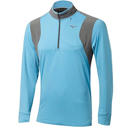 (Mizuno 2017 Warm Layer 1/4 Zip Warmalite Pullover Mens Performance Golf Cover-up Norse Blue Large)
