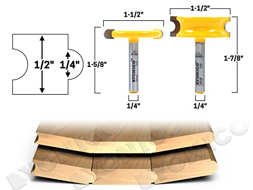 - Yonico 13201q 1/4-Inch Bead 2 Bit Canoe Joint Router Bit Set 1/4-Inch Shank