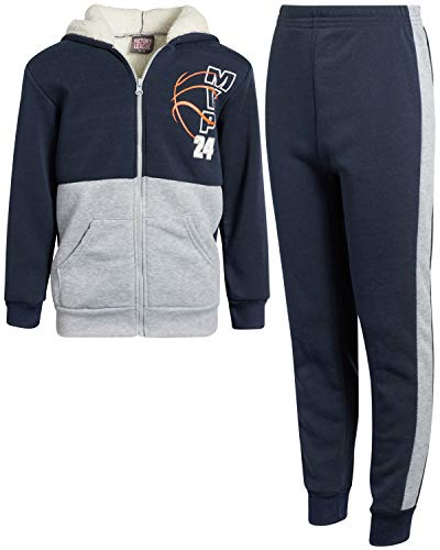 Coney Island Boys' 2-Piece Athletic Fleece Jogger Pant Set with Fully Lined Sherpa Jacket, Navy/Heather Grey, Size 10/12'