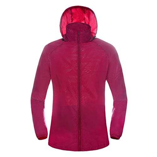 Pongfunsy Womens Mens Windproof Cycling Jackets with Hoodie Bike Reflective Rain Jacket Long Sleeve Bicycle Wind Coat Red