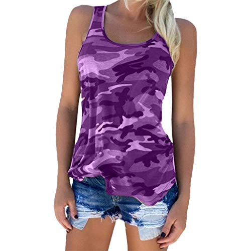(Sherostore ♡ Womens Camouflage Casual T Shirt Camo Sleeveless Tanks Top Vest and Short Plus Size)