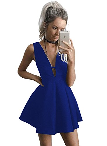 Women's V-Neck A-line Satin Short Prom Homecoming Dress Formal Evening Gown Size 6 Royal Blue ()