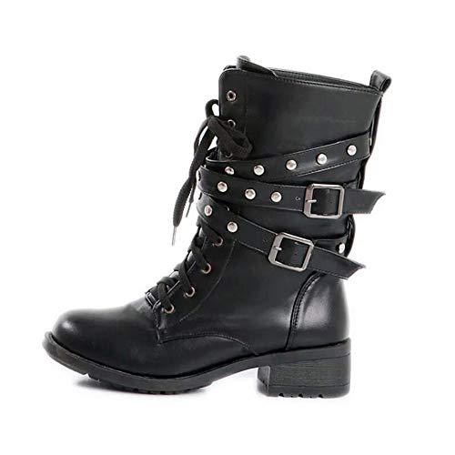 ... Tacon Tobillo Retro Tachuelas Zapatos Combate Trabajo Uirend Mujer  Encaje Botas Ejército Punk Negro Hebilla Botines ... 55edc5af25e1