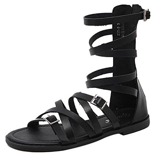Azbro Mujer Sandalias Gladiator de Tacón Plano Puntera Abierta de Color Sólido Negro