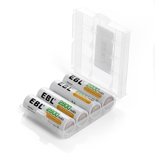 EBL AA 2800mAh High Performance Ni-MH Rechargeable Batteries, 4 Pack ()