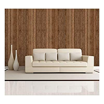 Vertical Brown Retro Wood Textured Paneling - Wall Mural, Removable Wallpaper, Home Decor - 100x144 inches