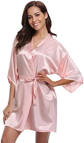 Aiboria Womens Kimono Dressing Gown Bride Bridesmaid Robes Satin Kimono Bridal Party Wedding Bridesmaid Gifts Pure Colour with Oblique V-Neck
