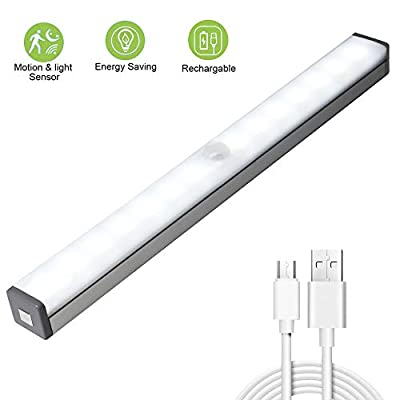 Under Cabinet Lighting, weijie Dimmable Motion Sensor Closet Lights, Soft Bright 14 LED Night Light Built-in Magnetic, Portable Wireless USB Rechargeable Safe White Light Bar for Kitchen Stair Hallway