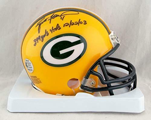 Brett Favre Helmet (Brett Favre Signed Mini Helmet - w 399 Yds 12 22 03 Auth - Autographed NFL Mini Helmets)