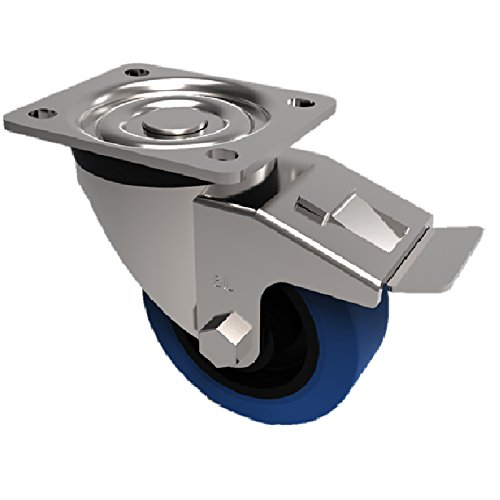 BIL BZPH100RNBSWB Series BZPH Castor, Elastic Rubber On Nylon, 100 mm Diameter, 132 mm Height, 135 mm x 110 mm Plate, 10 mm Fixing Bolt, 250 kg Capacity, 38 mm Tread, 120 mm Radius, Blue BIL Group Ltd