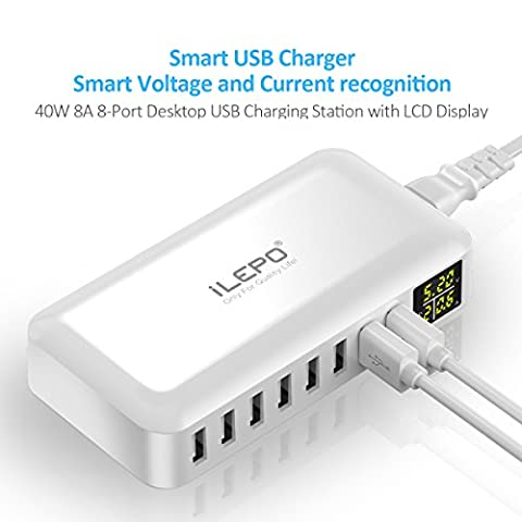 iLepo 8- Port USB Charger LCD Display Charging Stations for Multiple Devices Desktop Wall Charger For Laptops, Tablets, and Phones 【2 Years - 8 Digital Stations