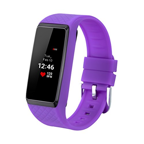 INCHOR WRISTFIT HR Smart Armband Bracelet Herzfrequenz Monitor OLED Screen IP67 wasserdicht Call/SMS Reminder Pedometer Stoppuhr Schlaf-Monitor für Android iOS Purpur