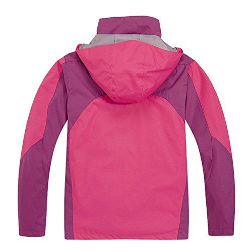 LANBAOSI Kids Snowboarding 3in1 Jacket For Boys & Girls Waterproof Thermal Coat Rose red Size US M