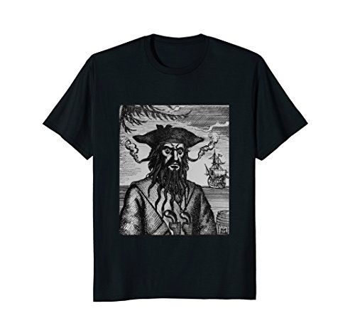 Mens Pirate Captain Black Beard T-shirt 2XL (Pirate Captain Beard)