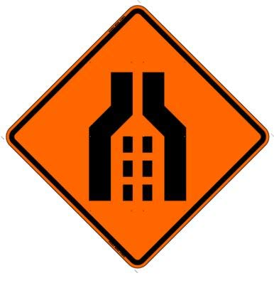 Double Lane Merging Symbol Reflective Roll-Up Sign, 48
